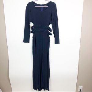 For Love and Lemons Navy Braided Maxi Dress